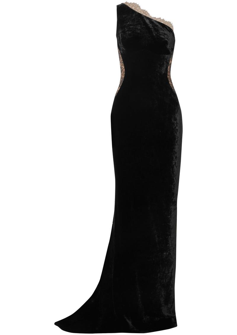 Stella Mccartney Woman One-shoulder Lace-paneled Velvet Gown Black