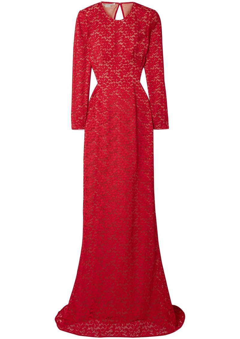 Stella Mccartney Woman Breanna Open-back Cotton-blend Corded Lace Bridal Gown Red