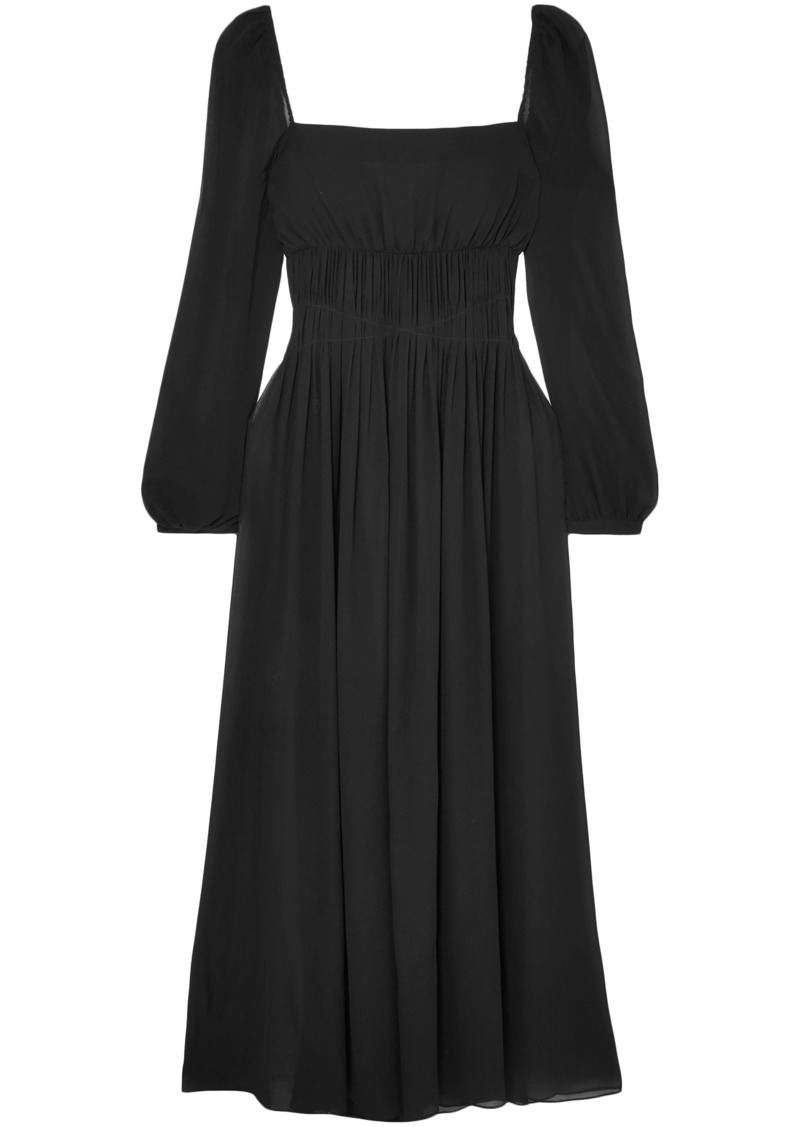 Stella Mccartney Woman Open-back Gathered Silk-georgette Maxi Dress Black
