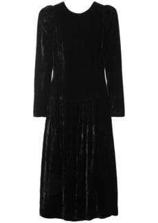 Stella Mccartney Woman Open-back Satin-trimmed Velvet Midi Dress Black
