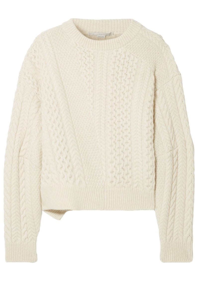 Stella Mccartney Woman Oversized Cable-knit Wool And Alpaca-blend Sweater Cream