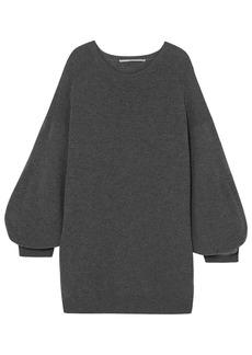 Stella Mccartney Woman Oversized Mélange Wool Mini Dress Dark Gray