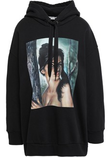 Stella Mccartney Woman Oversized Printed French Cotton-terry Hoodie Black