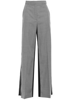 Stella Mccartney Woman Paneled Houndstooth Wool And Canvas Wide-leg Pants Black