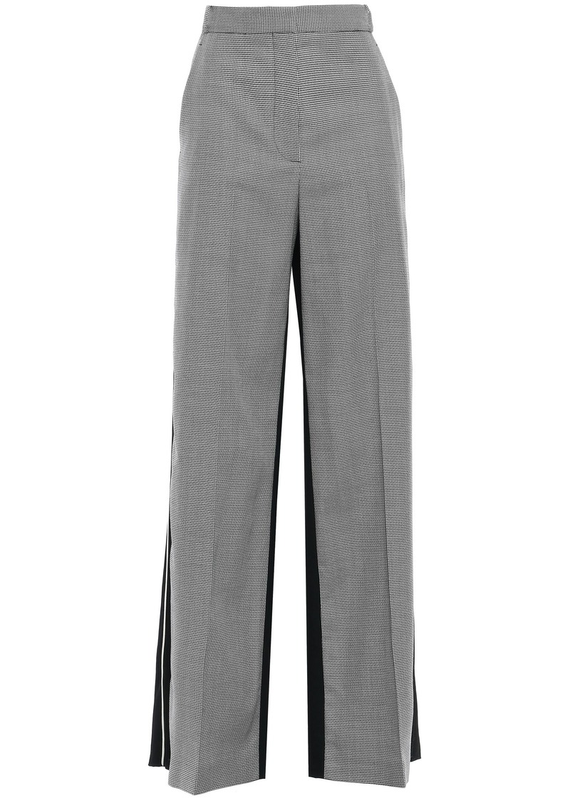 Stella Mccartney Woman Paneled Houndstooth Wool And Canvas Wide-leg Pants Black