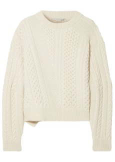 Stella Mccartney Woman Patchwork-effect Cable-knit Wool And Alpaca-blend Sweater Cream