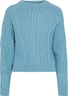 Stella Mccartney Woman Patchwork-effect Cable-knit Wool And Alpaca-blend Sweater Turquoise