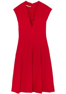 Stella Mccartney Woman Paula Lace-up Pleated Stretch-crepe Dress Tomato Red