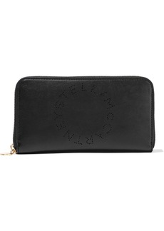 Stella Mccartney Woman Perforated Faux Leather Wallet Black