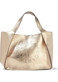 Stella Mccartney Woman Perforated Metallic Faux Cracked-leather Tote Rose Gold