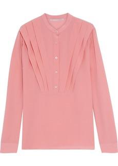 Stella Mccartney Woman Pintucked Silk Crepe De Chine Shirt Bubblegum
