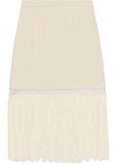 Stella Mccartney Woman Pleated Embroidered Tulle And Stretch-crepe Skirt Cream
