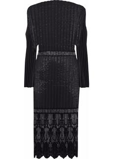 Stella Mccartney Woman Plissé-taffeta Embroidered Tulle Cotton-blend Dress Black