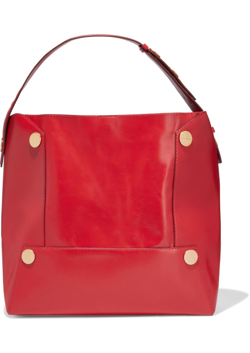 Stella Mccartney Woman Popper Studded Faux Leather Shoulder Bag Red