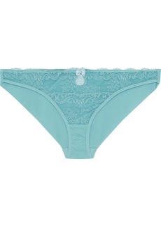 Stella Mccartney Woman Poppy Playing Lace And Stretch-jersey Low-rise Briefs Turquoise