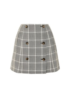 Stella Mccartney Woman Prince Of Wales Checked Wool Mini Skirt Black