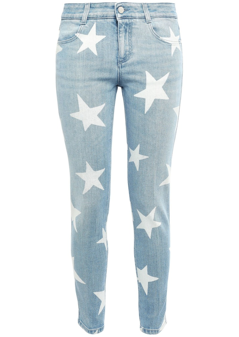 Stella Mccartney Woman Printed Low-rise Skinny Jeans Light Denim