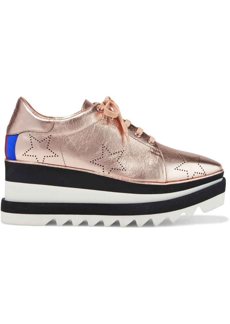 Stella Mccartney Woman Printed Metallic Faux-leather Platform Sneakers Rose Gold