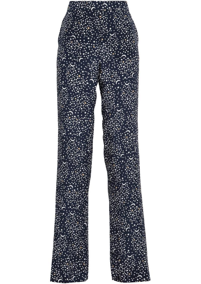 Stella Mccartney Woman Printed Silk Crepe De Chine Straight-leg Pants Navy