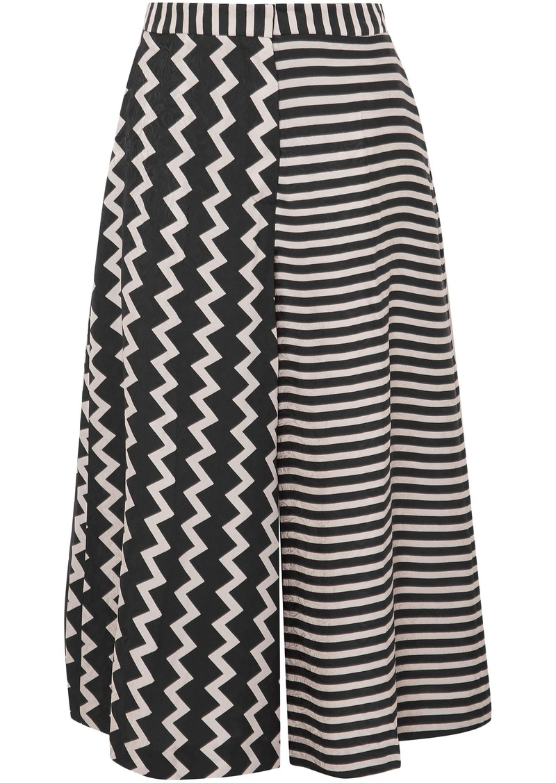 Stella Mccartney Woman Printed Silk-moire Culottes Black
