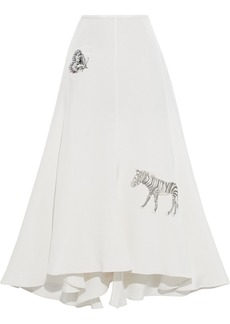 Stella Mccartney Woman Rainbow Embroidered Silk Crepe De Chine Midi Skirt Off-white
