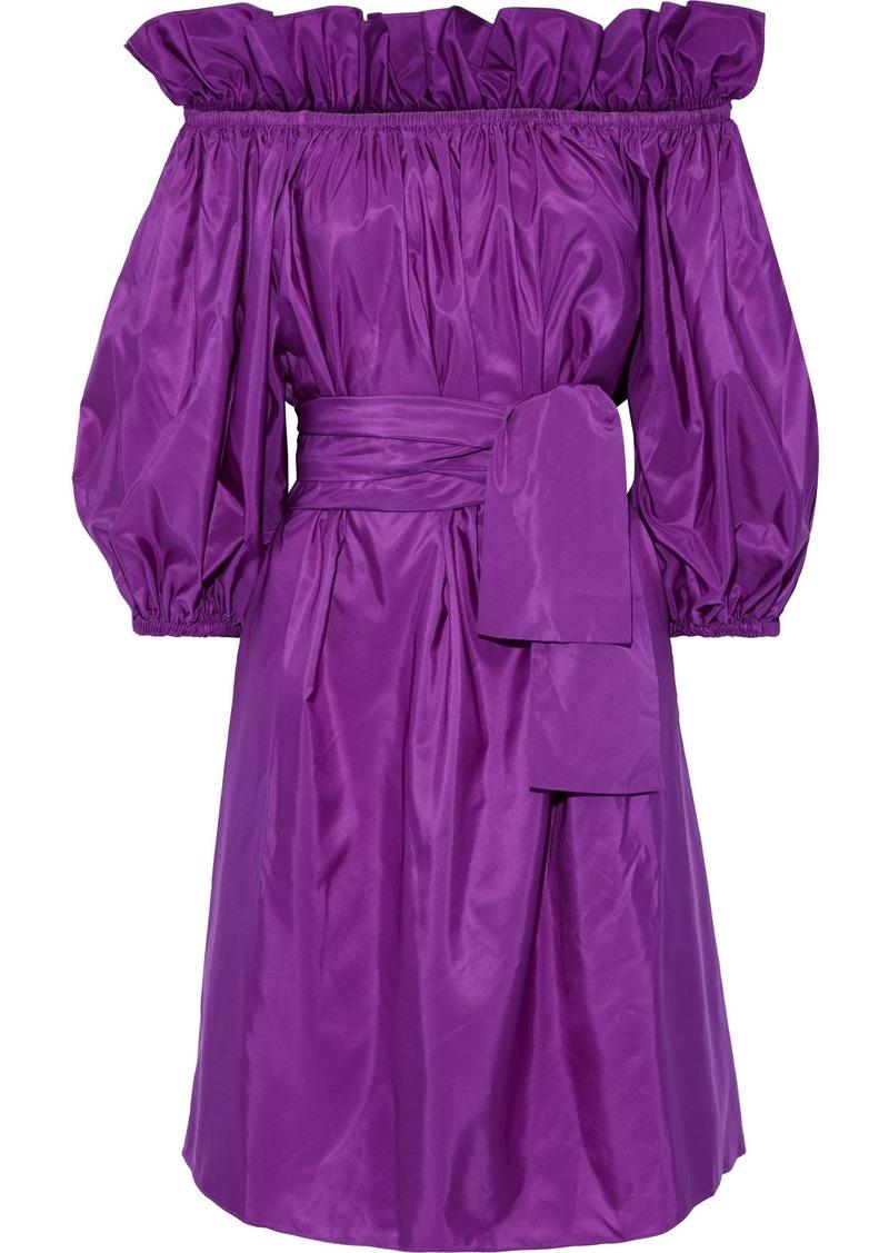 Stella Mccartney Woman Aubrie Off-the-shoulder Belted Taffeta Dress Violet