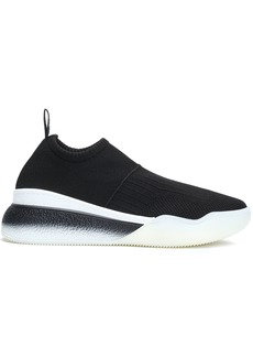 Stella Mccartney Woman Ribbed Stretch-knit Sneakers Black
