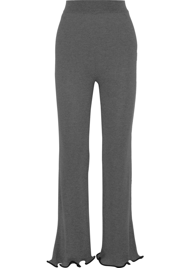 Stella Mccartney Woman Ribbed Wool Straight-leg Pants Anthracite