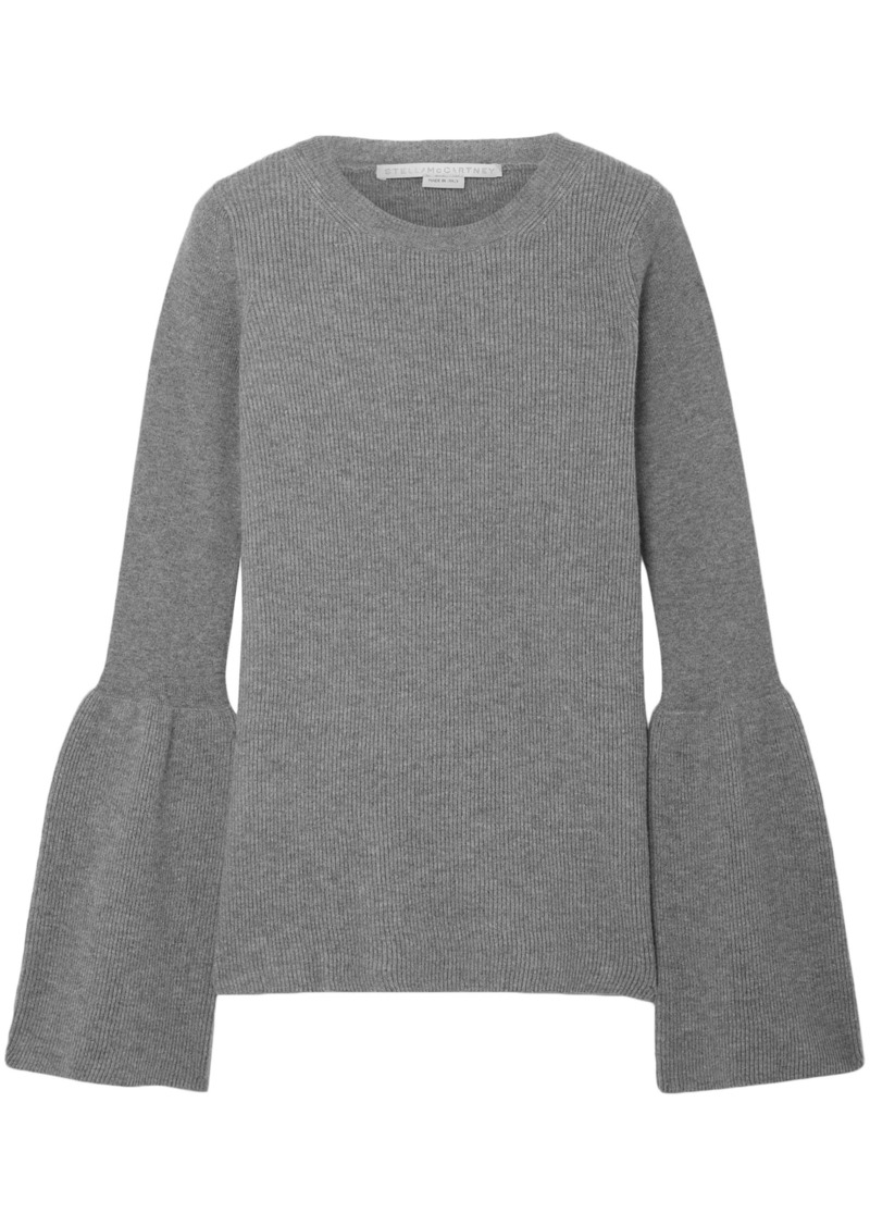 Stella Mccartney Woman Ribbed Wool Sweater Gray