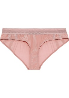 Stella Mccartney Woman Rose Romancing Lace-trimmed Ruched Silk Low-rise Briefs Baby Pink
