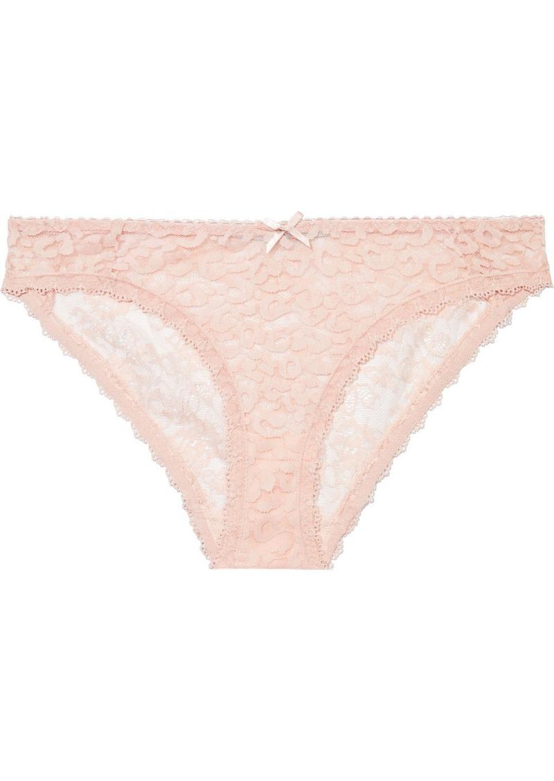 Stella Mccartney Woman Ruby Roaring Paneled Stretch-lace Low-rise Briefs Blush