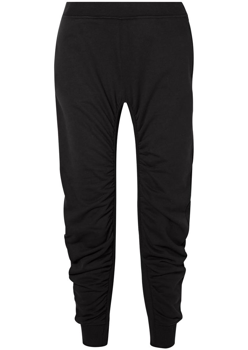Stella Mccartney Woman Ruched Cotton-jersey Track Pants Black