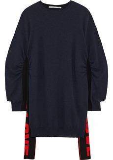 Stella Mccartney Woman Ruched Intarsia Wool Sweater Navy