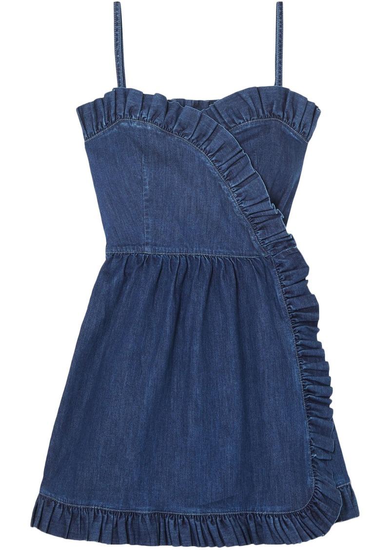 Stella Mccartney Woman Ruffle-trimmed Denim Wrap Mini Dress Mid Denim