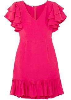Stella Mccartney Woman Ruffle-trimmed Stretch-crepe Mini Dress Fuchsia