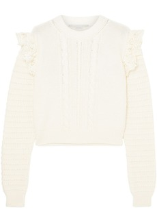 Stella Mccartney Woman Ruffled Crochet-trimmed Cotton Sweater Ivory