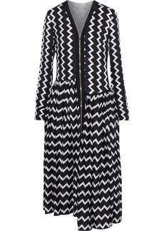 Stella Mccartney Woman Sage Asymmetric Striped Silk-satin Jacquard Midi Dress Black