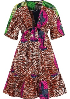 Stella Mccartney Woman Saniya Flared Cutout Printed Cotton Dress Brown