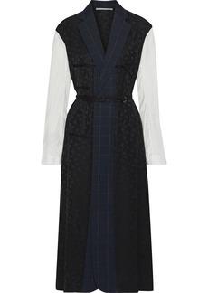 Stella Mccartney Woman Satin Jacquard-paneled Checked Wool Midi Dress Black