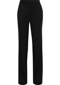Stella Mccartney Woman Satin-trimmed Wool-crepe Straight-leg Pants Black