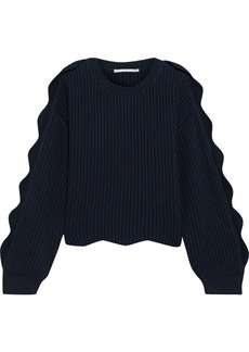 Stella Mccartney Woman Scalloped Ribbed Cotton And Wool-blend Sweater Midnight Blue