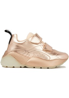Stella Mccartney Woman Scuba And Metallic Faux Leather Exaggerated-sole Sneakers Rose Gold