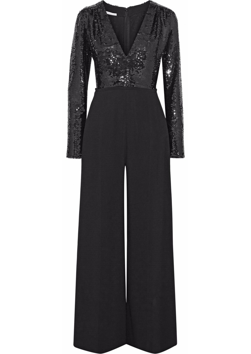 Stella Mccartney Woman Sequined And Silk-crepe Jumpsuit Black