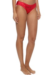 Stella Mccartney Woman Set Of 2 Embellished Satin Low-rise Briefs Red