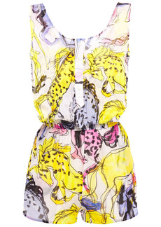 Stella Mccartney Woman Shirred Printed Cotton And Silk-blend Voile Playsuit Multicolor