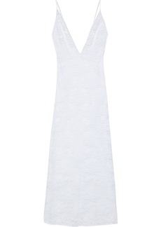Stella Mccartney Woman Sienna Sparkling Satin-trimmed Stretch-leavers Lace Chemise White