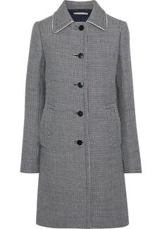 Stella Mccartney Woman Silk-trimmed Houndstooth Wool Coat Black
