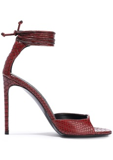 Stella Mccartney Woman Snake-effect Faux Leather Sandals Burgundy