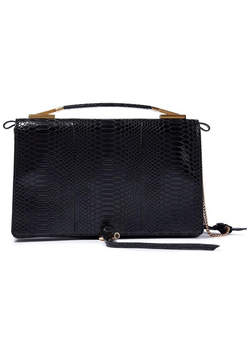 Stella Mccartney Woman Snake-effect Faux Leather Shoulder Bag Black