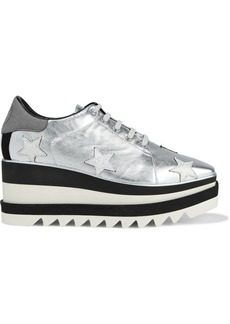 Stella Mccartney Woman Sneak-elyse Appliquéd Metallic Faux Leather Platform Sneakers Silver